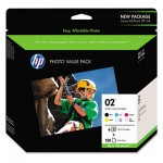 HP 02, 6-Pack Assorted Original Ink w/Photo Paper HEWQ7964AN