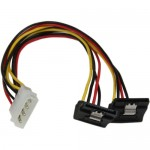 StarTech 12in LP4 to 2x Right Angle Latching SATA Power Y Cable Adapter PYO2LP4LSATR