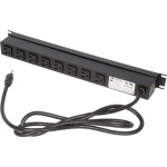 Rack Solutions 15A Horizontal Power Strip, Front Outlet, 6ft Cord PS19-F8-6-C