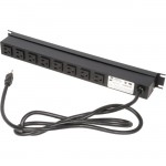Rack Solutions 15A Horizontal Power Strip, Rear Outlet, 15ft Cord PS19-R8-15-K