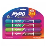 EXPO 2-in-1 Dry Erase Markers, Broad/Fine Chisel Tip, Assorted Colors, 4/Pack SAN1944656