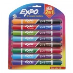 EXPO 2-in-1 Dry Erase Markers, Broad/Fine Chisel Tip, Assorted Colors, 8/Pack SAN1944658