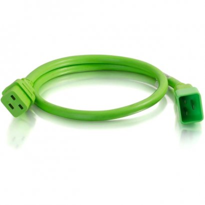 C2G 3ft 12AWG Power Cord (IEC320C20 to IEC320C19) - Green 17723