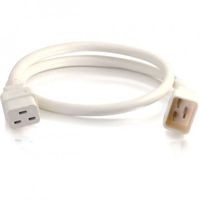 C2G 4ft 12AWG Power Cord (IEC320C20 to IEC320C19) - White 17731