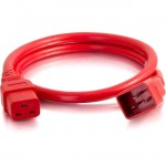 C2G 4ft 12AWG Power Cord (IEC320C20 to IEC320C19) -Red 17727
