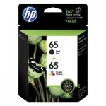 HP 65 Black; Tri-Color Original Ink Cartridge, 2/Pk HEWT0A36AN