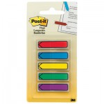 "Post-It Flags 684ARR1 Arrow 1/2"" Page Flags, Blue/Green/Purple/Red/Yellow, 20/Color, 100/Pack MMM684ARR1"