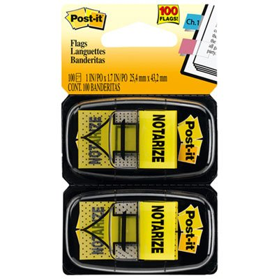 "Post-It Flags Arrow Message 1"" Page Flags, ""Notarize,"" Yellow, 2 50-Flag Dispensers/Pack MMM680NZ2"