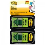 "Post-It Flags Arrow Message 1"" Page Flags, ""Sign and Date"", Green, 2 50-Flag Dispensers/Pack MMM680SD2"