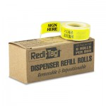 "Redi-Tag Arrow Message Page Flag Refills, ""Sign Here"", Yellow, 6 Rolls of 120 Flags RTG91001"