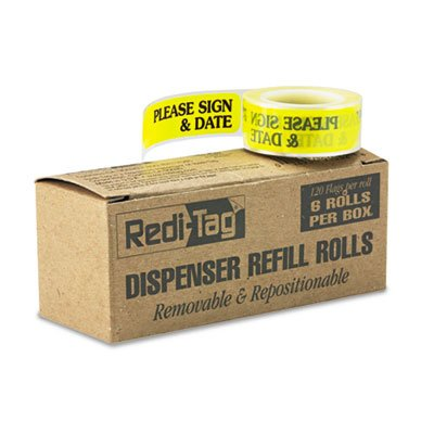 "Redi-Tag Arrow Message Page Flag Refills, ""Please Sign & Date"", Yellow, 120/Roll, 6 Rolls RTG91032"