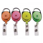 "Advantus Carabiner-Style Retractable ID Card Reel, 30"" Extension, Assorted Neon, 20/Pack AVT91119"