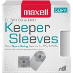 Maxell CD/DVD Keeper Sleeves - Clear (50 Pack) 190150