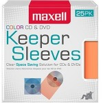 Maxell CD/DVD Keeper Sleeves - Color (25 Pack) 190151