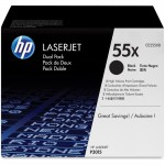 HP 55X (CE2D) 2-pack High Yield Black Original LaserJet Toner Cartridges CE255XD