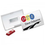 Durable 821519 Click-Fold Convex Name Badge Holder, Double Magnets, 3 3/4 x 2 1/4, Clear, 10/Pk