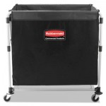 Rubbermaid Commercial Collapsible X-Cart, Steel, Eight Bushel Cart, 24 1/10w x 35 7/10d, Black/Silver RCP1881750