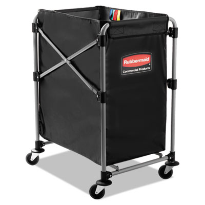 Rubbermaid Commercial Collapsible X-Cart, Steel, Four Bushel Cart, 20 1/3w x 24 1/10d, Black/Silver RCP1881749