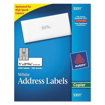 Avery copier mailing labels 1 x 2 13 16 white 3300 box for Avery labels 5351 template