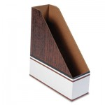 Bankers Box Corrugated Cardboard Magazine File, 4 x 11 x 12 3/4, Wood Grain, 12/Carton FEL07224