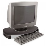 Kantek CRT/LCD Stand with Keyboard Storage, 23 x 13 1/4 x 3, Black KTKMS280B