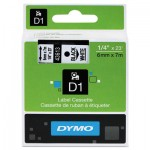 DYMO D1 Polyester High-Performance Removable Label Tape, 1/4in x 23ft, Black on White DYM43613