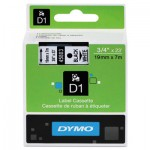 DYMO D1 Polyester High-Performance Removable Label Tape, 3/4in x 23ft, Black on White DYM45803