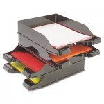 Deflecto Docutray Multi-Directional Stacking Tray Set, Two Tier, Polystyrene, Black DEF63904