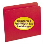 Smead File Folders, Straight Cut, Reinforced Top Tab, Letter, Red, 100/Box SMD12710
