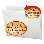 Smead File Folders, Straight Cut, Reinforced Top Tab, Letter, White, 100/Box SMD12810