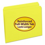 Smead File Folders, Straight Cut, Reinforced Top Tab, Letter, Yellow, 100/Box SMD12910