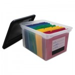 Innovative Storage Designs File Tote with Contents Label, Letter/Legal, Clear/Black AVT55802