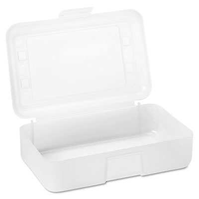 Advantus Gem Polypropylene Pencil Box with Lid, Clear, 8 1/2 x 5 1/2 x 2 1/2 AVT34104