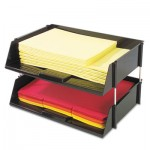 Deflecto Industrial Stacking Tray Set, Two Tier, Plastic, Black DEF582704