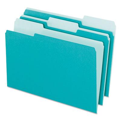 Pendaflex Interior File Folders 1 3 Cut Top Tab Letter Aqua 100 Box Pfx421013aqu