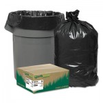"Earthsense Commercial Linear Low Density Recycled Can Liners, 56 gal, 1.25 mil, 43"" x 48"", Black, 100/Carton WBIRNW4750"