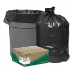 "Earthsense Commercial Linear Low Density Recycled Can Liners, 45 gal, 1.25 mil, 40"" x 46"", Black, 100/Carton WBIRNW4850"