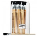 CLI Long Handle Easel Brush, Size 18, Natural Bristle, Flat, 12/Pack LEO73575