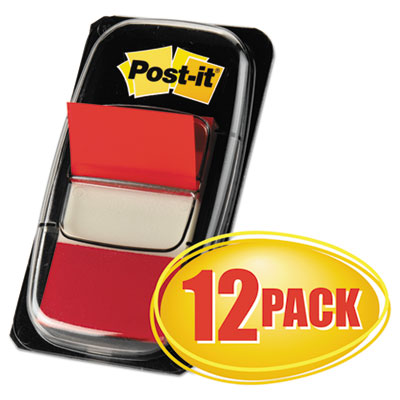Post-it Flags Marking Page Flags in Dispensers, Red, 50 Flags/Dispenser, 12 Dispensers/Pack MMM680RD12