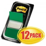 Post-it Flags Marking Page Flags in Dispensers, Green, 50 Flags/Dispenser, 12 Dispensers/Pack MMM680GN12