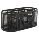 Rolodex Mesh Pencil Cup Organizer, Four Compartments, Steel, 9 1/3 x 4 1/2 x 4, Black ROL1746466