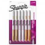 Sharpie Metallic Fine Point Permanent Markers, Bullet Tip, Gold-Silver-Bronze, 6/Pack SAN1829201
