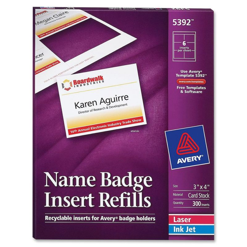 Avery name badge insert refill 5392 for Avery name badge template 5392
