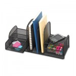 Safco Onyx Mesh Desk Organizer, Three Sections/Two Baskets, 17 x 6 3/4 x 7 3/4, Black SAF3263BL