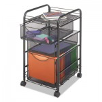 Safco Onyx Mesh Mobile File With Two Supply Drawers, 15-1/4w x 17d x 27h, Black SAF5213BL