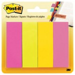 Post-It 6714AU Page Flag Markers, Assorted Brights, 50 Strips/Pad, 4 Pads/Pack MMM6714AU