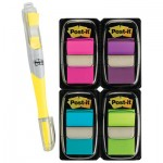 Post-It Flags Page Flag Value Pack, Assorted Colors, 200 Flags & Highlighter w/50 Flags MMM680PPBGVA