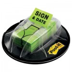 "Post-It Flags Page Flags in Dispenser, ""Sign & Date"", Bright Green, 200 Flags/Dispenser MMM680HVSD"