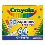 Crayola 588764 Pip-Squeaks Skinnies Washable Markers, Medium Bullet Tip, Assorted Colors, 64/Pack CYO588764