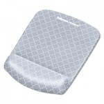 Fellowes PlushTouch Mouse Pad with Wrist Rest, 7 1/4 x 9 3/8 x 1, Gray/White Lattice FEL9549701